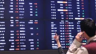 Electronic share price board at the Tokyo Stock Exchange