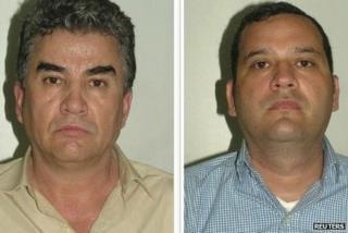 Jesus Gutierrez Guzman (L) and Samuel Zazueta Valenzuela feature on photos handed out by Spanish police, 10 August