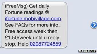 Screengrab of iPhone text message