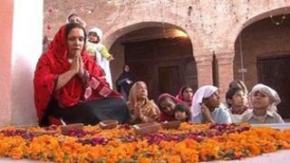 Hindus praying at a temple in peshawar
