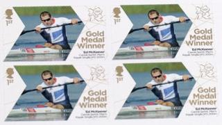 Royal Mail stamps celebrating Ed McKeever's gold medal