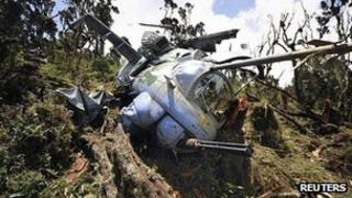 Wreck of military helicopter at Mount Kenya. 13 August 2012