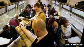 Commuters on a train
