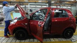 Worker in Chery car factory in China