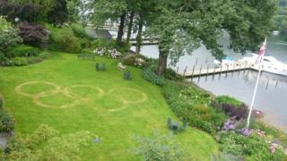 Olympic symbol in the lawn of the Lakeside Hotel