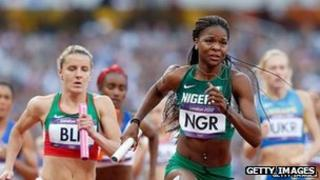 Regina George of Nigeria running at the Olympics (10 August 2012)