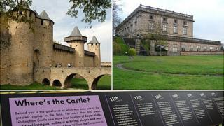 Carcassonne in France (l) and Nottingham Castle and an information board in Nottingham