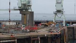 Demolition of crane cargo berth at Guernsey's St Peter Port Harbour