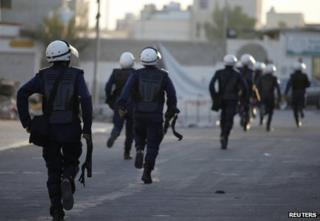 Bahraini riot police deploy in Sitra, south of Manama, 17 August