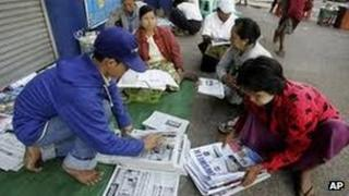 Newspaper sellers in Rangoon, Burma