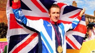 Bradley Wiggins celebrates his Olympic victory.