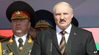 Belarus President Alexander Lukashenko at parade in Minsk, 3 Jul 12
