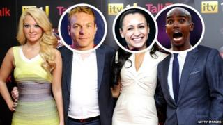 The X Factor judges with Sir Chris Hoy, Jessica Ennis and Mo Farah's faces superimposed.