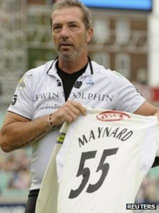 Matthew Maynard holds a shirt in tribute to his late son Tom, at The Kia Oval