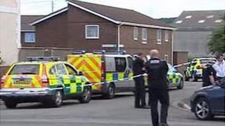 Police cordon on Monday
