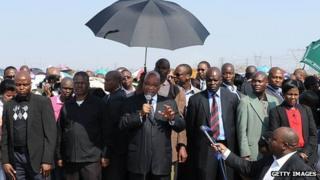 Jacob Zuma at Marika mine (22 August 2012)