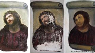 Pictures of the Ecce Homo before and after.
