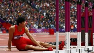 Liu Xiang after his fall at the London Olympics