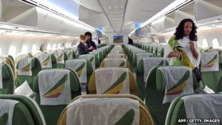 An Ethiopian Airlines stewardess inspects the aisles of a Boeing 787 Dreamliner in Addis Ababa (File)