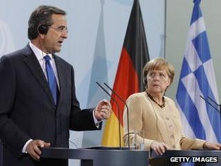 German Chancellor Angela Merkel with Greek PM Antonis Samaras in Berlin, 24 Aug 12