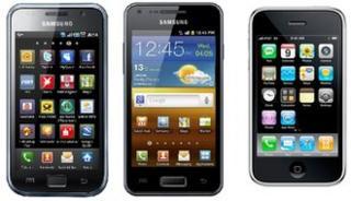 Samsung Galaxy S, Samsung Galaxy S2 and Apple iPhone 3G