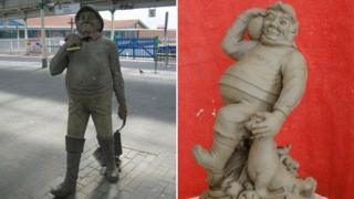 The existing and proposed statue design