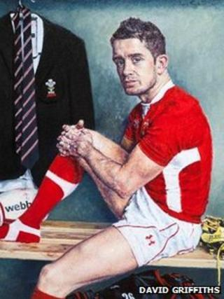 A painting of Shane Williams