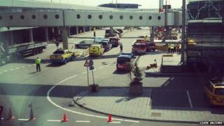 Picture of Schiphol Airport after evacuation.
