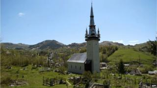 A Greco-Catholic church in the western Romanian town of Rosia Montana, threatened by a Canadian mining project is