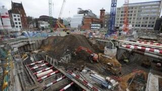 Crossrail station under construction