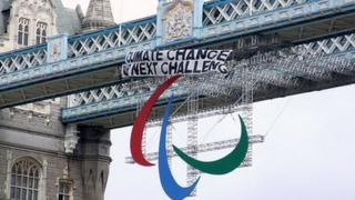 A banner unfurled over the Paralympics logo on Tower Bridge