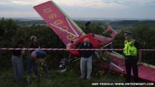 Wreckage of aircraft at crash scene
