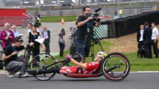 Para-cyclist at Brands Hatch
