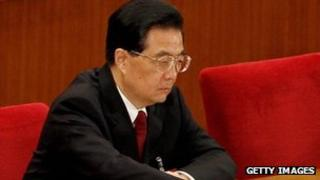China's President Hu Jintao attends the closing session of the National Peoples Congress at The Great Hall Of The People on March 14, 2012 in Beijing, China.