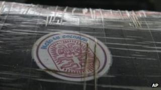 Package of cocaine, seized in Panama 30 July 2012, allegedly from Colombia