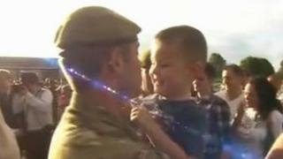 Soldier and young boy