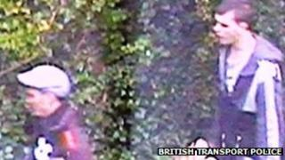 CCTV image of two men BTP officers would like to speak to in connection with an offence of endangering safety on the railway at Malvern.