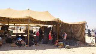 Welcome tent for refugees
