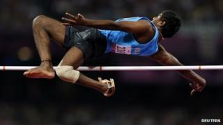 "India""s Girisha Hosanagara Nagarajegowda competes in the men""s High Jump Final F42 during the London 2012 Paralympic Games at the Olympic Stadium in London, September 3, 2012"