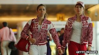 Members of the Russian gymnastics team arriving at Heathrow ahead of the Olympics