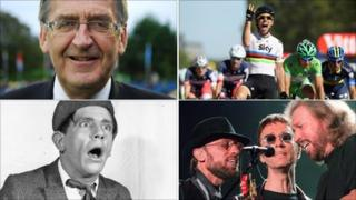 Geoff Karran (BBC), Mark Cavendish, Sir Norman Wisdom and the Bee Gees (Getty Images)