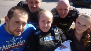Sgt Simon Tattersall and PCs Kirsty Lucas and David Wren with Ramon Hayward, Chelsea Nolan and Annie