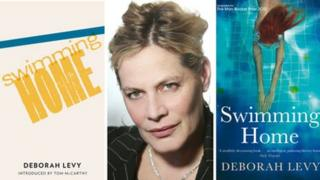 Deborah Levy with Swimming Home novel covers