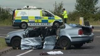 Car involved in crash on A46