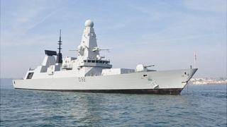 HMS Daring anchored off Guernsey