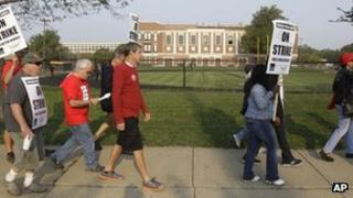 Teachers strike in Chicago, Illinois 17 September 2012