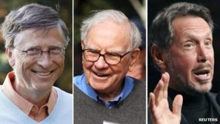 Combination picture of Bill Gates, Warren Buffett and Larry Ellison