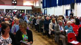 The meeting at Sir Thomas Picton School, Haverfordwest
