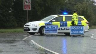 Scene of road accident in Antrim