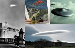 From left to right, purported UFO sighting in Rhodesia, drawing of a UFO sighting by Chinese man Sun Shili, computer-generated image of a UFO, UFO-shaped cloud